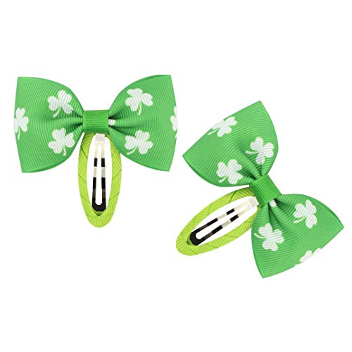 St.Patrick Snap Clips Shamrock Bow BB Hairpin Baby Girls Clover Hair Clips JHSP15 (B)