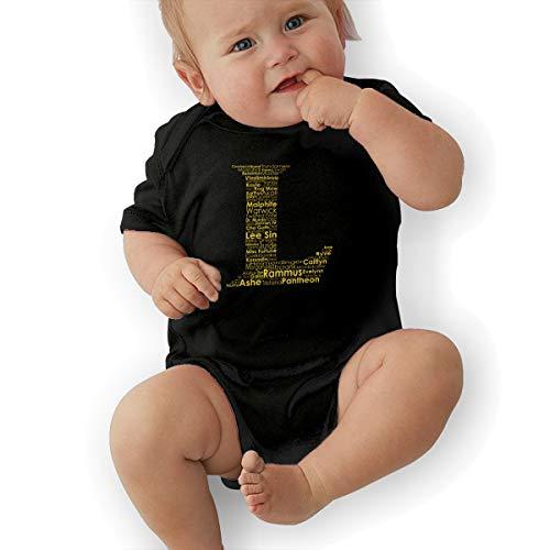 Video Game League of Legends L Logo Top Baby Cotton Short Sleeve Jersey Bodysuits Black