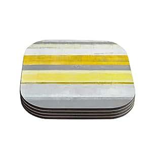 "Kess InHouse CarolLynn Tice ""Lemon"" Yellow Gray Coasters, 4 by 4-Inch, Yellow/Gray, Set of 4"