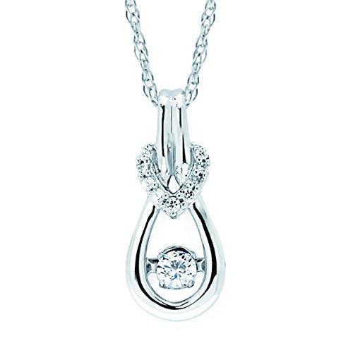 (Boston Bay Diamonds 925 Sterling Silver Dancing Diamond Dainty Tear Drop Pendant Necklace, 18