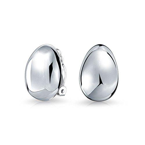 Geometric Minimalist Simple 925 Sterling Silver Dome Shrimp Pear Shape Teardrop Clip On Earrings For Women Alloy Clip