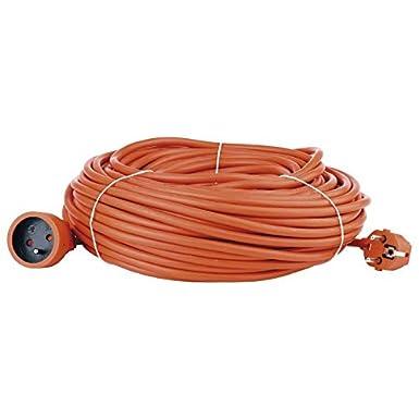 Cable Manguera Alargador de Corriente 40M Macho / Hembra 1 Toma Color Naranja