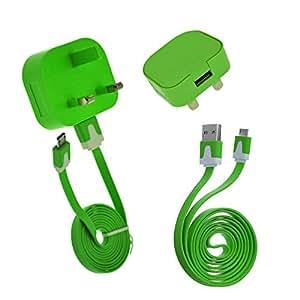 Alta calidad original verde 3Pin Uk Cargador de pared Adaptador + Flat–Cable micro USB Sync Cable de carga para LG Optimus L92P760P769F5P875