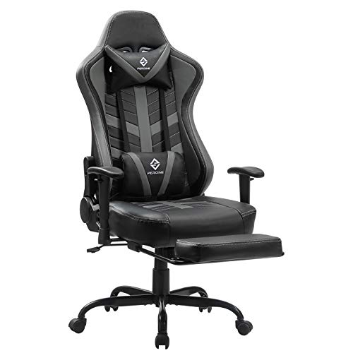 PEROINE Massage Gaming Chair with Footrest – Racing Computer Desk Office Swivel Task Chair Ergonomic Executive Bonded…