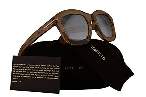 Tom Ford FT0582 Julia-02 Sunglasses Brown Transparent w/Blue Gradient Mirror Lens 45P - Tom Sunglasses Ford Alicia