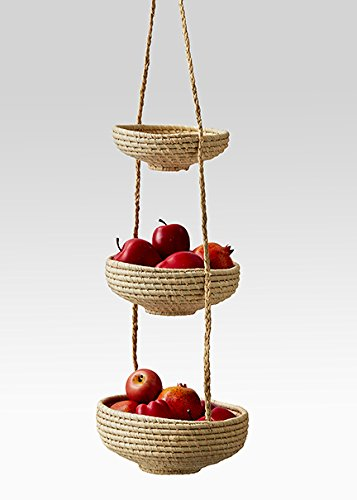 Serene Spaces Living Hanging Raffia Baskets for Your Kitchen - 3 Fair Trade Handmade Decorative Storage Baskets from Madagascar for Fruit and Vegetables