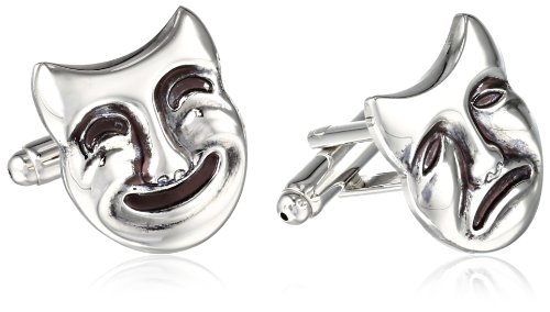 Status Men's Cuff Links Comedy and Tragedy Masks, Silver,...