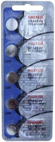 Maxell Battery 303 SR44SW Silver Oxide 1.55V 5 Batteries Per Pack