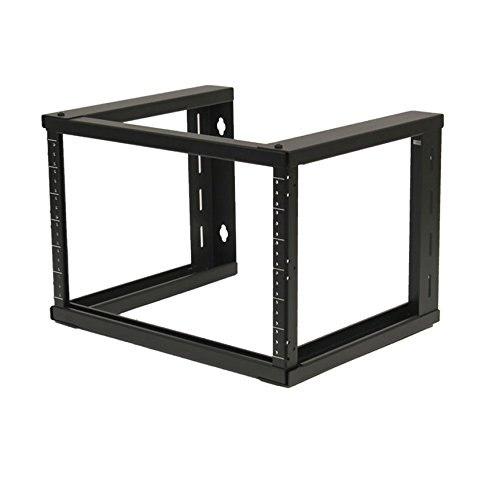 (NavePoint 6U Wall Mount Open Frame 19 Inch Server Equipment Rack Threaded 16 inch Depth Black)