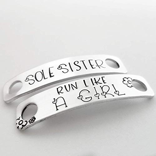 shoelace charm tag sole sister run like a girl sneaker running marathon gift