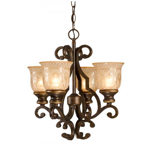 Crystorama 7404-BU Wrought Iron Four Light Mini Chandelier from Norwalk collection in Bronze/Darkfinish,