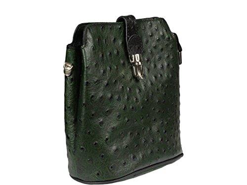 42b2fc1963ccd Schöne praktische Leder Kleine grüne Handtasche aus Leder Fibbia Verde Nera  über die Schulter ...