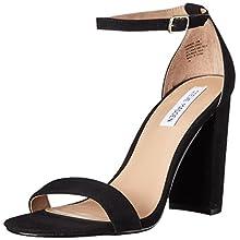 Steve Madden Women's Carrson Dress Sandal, Black Suede, 8 M US