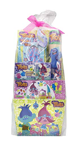 Dreamworks Trolls Easter Basket with Puzzle, Bank, Gummy Candy and Jelly Beans ()