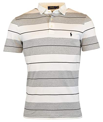 Polo Ralph Lauren Men's Regular Fit Striped Knit Polo Shirt - XL - White/Multi (Polo Ralph Lauren Striped Knit Dress Shirt)