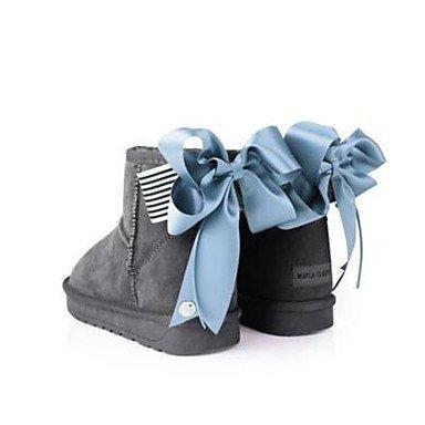 La mujer Confort Botas de cuero Suede Primavera confort informal marrón oscuro gris negro plano Gray