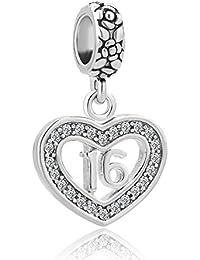 "Heart ""Number 16 Sixteen 16th Birthday Sweet Sixteen"" Charm Bead For Bracelets"