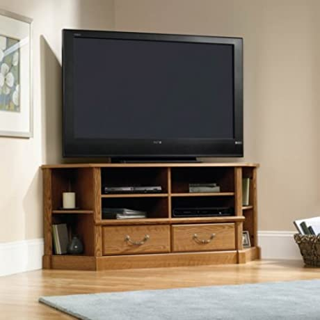 Corner Entertainment Credenza For TVs Up To 60 In Carolina Oak Wood Living Room Bedroom Office Cabinet Furniture Open Shelving Closed Storage Space Drawers T Lock Assembly System