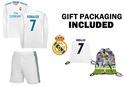 Fan Kitbag Ronaldo #7 Real Madrid Home Long Sleeve Youth Soccer Jersey & Shorts Kids Premium Gift Kitbag ✮ BONUS Ronaldo #7 Picture Backpack (Long Sleeve, YL 10-13 Years - Youth Jersey Home Real Madrid