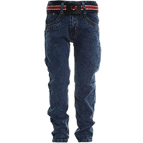 Kinder Jungen Jeans Stretch Röhren Jeans Hose Mit Gürtel 20625, Farbe:Blau;Größe:116