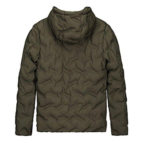 Cappotto Zhiyuanan Caldo Piumino Imbottito Incappucciato Verde Outwear Ispessimento Maschile pr8pfWTR