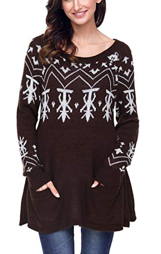 - WANEE Womens Long Sleeve Snowflake Knit Boatneck Jumper Long Ugly Christmas Sweater Tops