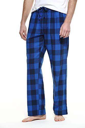 Flannel Loungewear - CYZ Men's 100% Cotton Super Soft Flannel Plaid Pajama Pants-BlueCheck-L