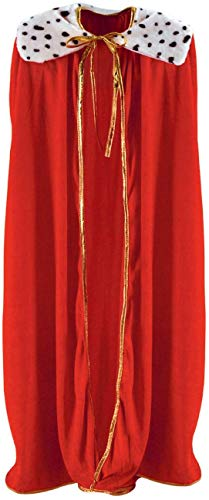 Curated Nirvana Robe for King and Queen | Red Faux Velvet Cape for Medieval Costume, Prom, Mardi Gras Cloak, Halloween Costume | 4 feet 4 inches Long (1/pkg)
