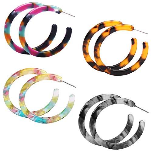 (4 Pairs Acrylic Hoops Earrings Bohemian Statement Drop Dangle Earrings for Women Girls Fashion Jewelry)