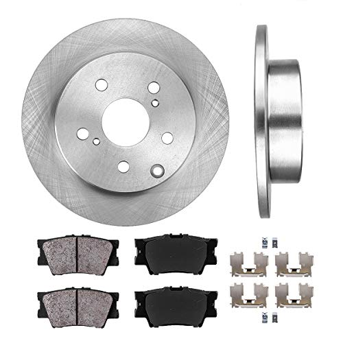 REAR 281 mm Premium OE 5 Lug [2] Brake Disc Rotors + [4] Ceramic Brake Pads + Clips (Wobble 0.5')