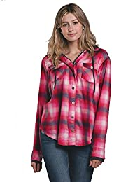 Womens Kenzie Hoodie Plaid Button Up Shirt
