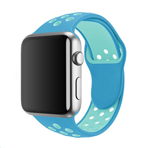 SMEECO Compatible with Apple Watch Band 38mm 40mm,Soft Breathable Silicone Strap Replacement iWatch Bands for Apple Watch Series 3, Series 2, Series 1 Sport Nike (38mm/40mm M/L)