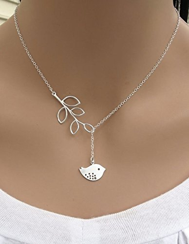 White Dove Necklace (White Dove with Olive Branch - Symbol of Peace and Victory)