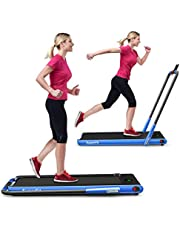 GYMAX Folding Treadmill, 2 in 1 Under Desk Electric Running Machine with Blue Tooth & LED Screen, Portable Walking Machine for Home, Office, Gym