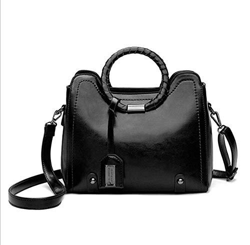 Piel Bolso Mujer Moda Polsas Black De De Hombro LXYIUN Tejido De Bolso Aceite wqv6010