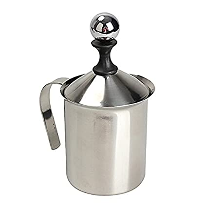 PIXNOR 400 ml de acero inoxidable leche Frother malla doble ...