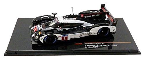IXO-Le Mans 2016Porsche 919Hybrid, lmm245Miniature Vehicle, Scale 1/43, White/Black/Grey