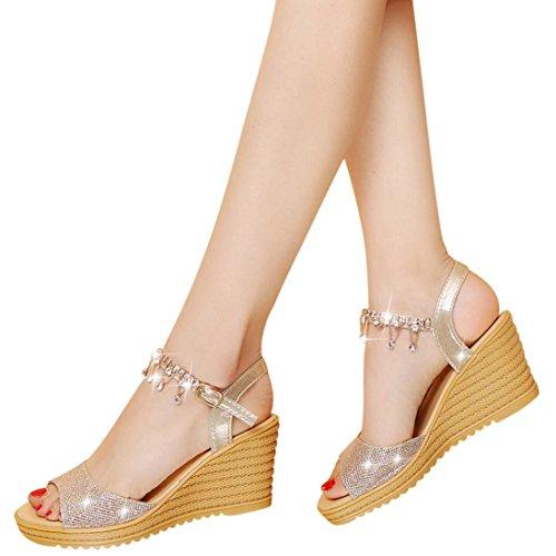 High Heels Wedge Sandals Slipper Women Platform Shoes Buckle Peep-toe Wedges Shoes (US:7, Gold)