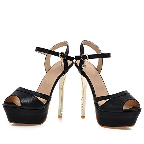 TAOFFEN Elegante Mujer Tacon De Aguja Sandalias Tacon Alto Plataforma Peep Toe Zapatos De Mariage Negro