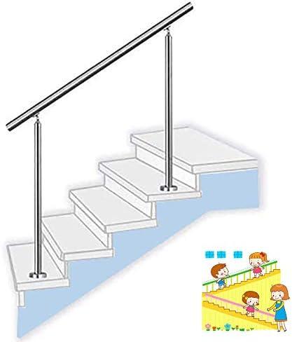 調節可能なステンレス鋼の手すりホルダー手すり階段の手すり2本の支柱、クロスバーなし、モダンな階段の手すりキット高齢者の障害児の廊下用の地上設置