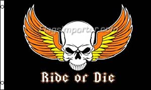 NeoPlex 3 'x 5' Ride Or Die Automotive Logo bandera