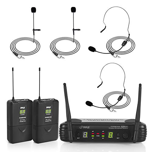 PYLE-PRO 2 Channel Wireless Microphone System-Portable UHF Digital Audio Mic Set with 2 Headset, 2 Lavalier lapel, 2, Transmitter, ¼