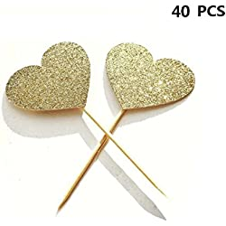 40PCS IFfree Best Heart Cupcake Toppers, Gold Glitter Heart Large Cupcake Toppers Golden Wedding,Weddings, Bridal or Baby Shower.
