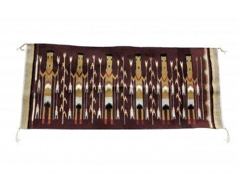 Perry Null Trading Martha Edsitty, Yei Rug, Navajo Handwoven, 53'' x 22 - Rug Yei