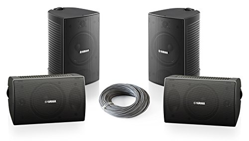 Yamaha VS4 Series Surface Mount Speaker Bundle with Installation Wire - Contractor 4-Pack (4 Inch, Black) by Yamaha
