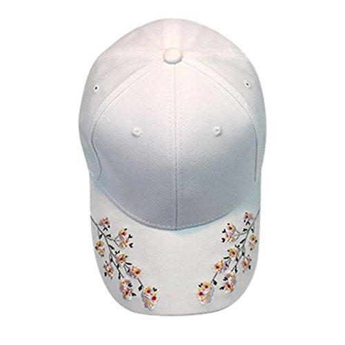 Hot Sale Flower Embroidered Baseball Cap Cotton Dancing Hip Hop Snapback Caps Hats Unisex (White)