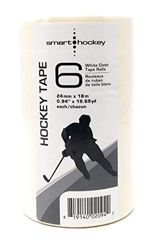 - Smarthockey White Cloth Hockey Blade Tape - 6 Rolls, 1 inch Wide, 20 Yards Long, White Cloth Tape for Stick Blades and knobs