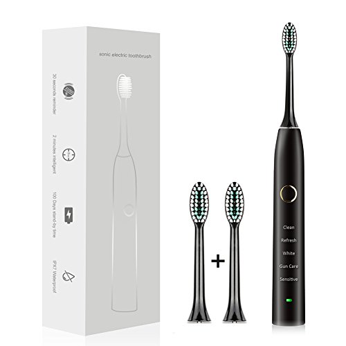 Electric Toothbrush Sonic Rechargeable Toothbrush,37200 brush strokes per minute,5 Customizable Modes,100 days battery life,2 Replacement Heads