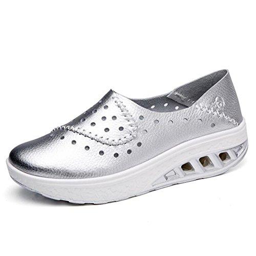 para Cuero Marea Mujer Color con Zapatos Zapatos Zapatos tamaño Desgaste 2018 Resistentes Orificios de Plata Zapatos de de de 41 Guisantes Casuales Zapatos Mujeres Zapatos al Verano vOwTA