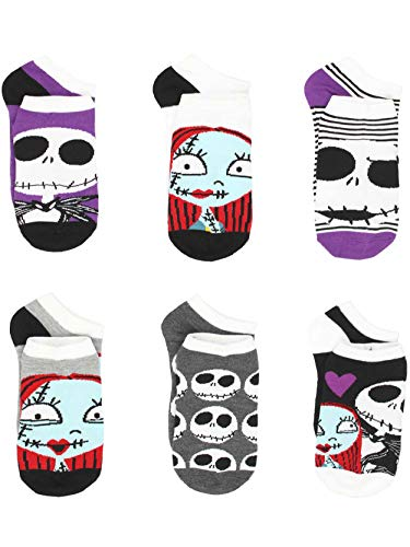 The Nightmare Before Christmas Womens 6 pack Socks (9-11 (Shoe: 4-10), Jack Sally Purple)